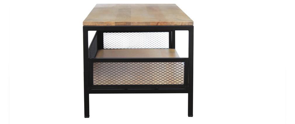 Tavolino basso industriale mango e metallo RACK