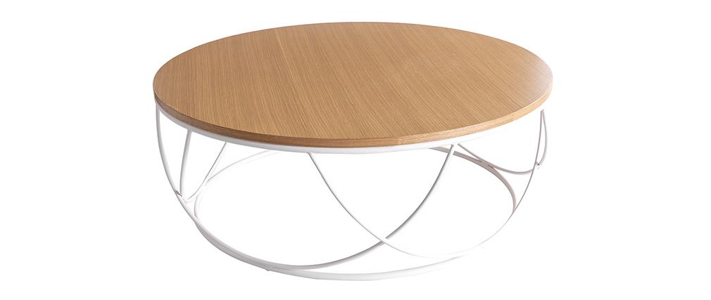 Tavolino basso legno e metallo bianco rotondo 80 cm LACE