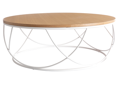 Tavolo Basso Di Design Con Piano Amovibile.Tavolino Basso Legno E Metallo Bianco Rotondo 80 Cm Lace