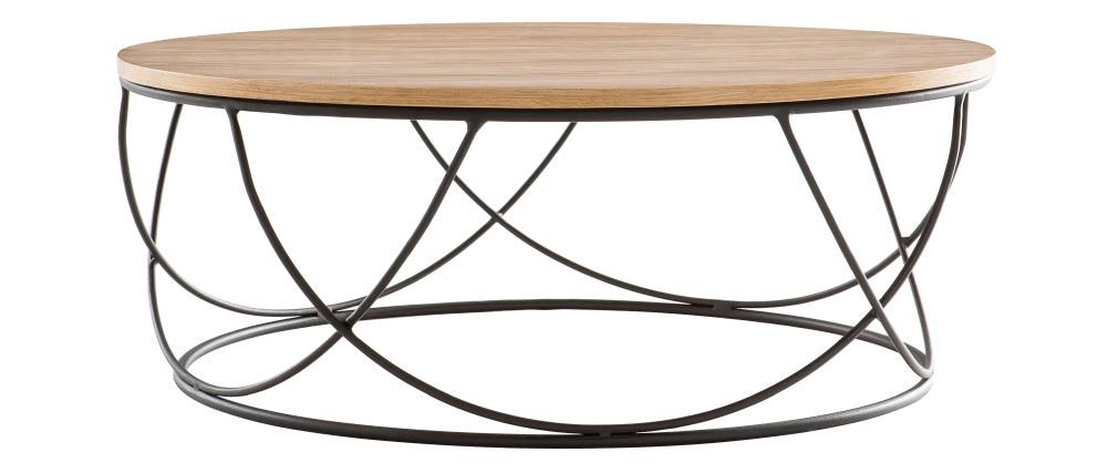 Tavolino basso legno e metallo nero rotondo 80 cm LACE