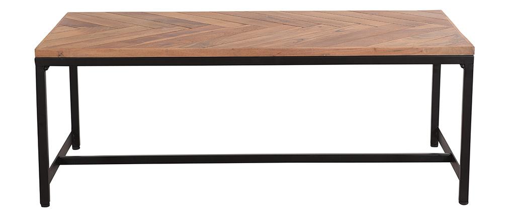 Tavolino basso moderno in acacia e metallo nero STICK