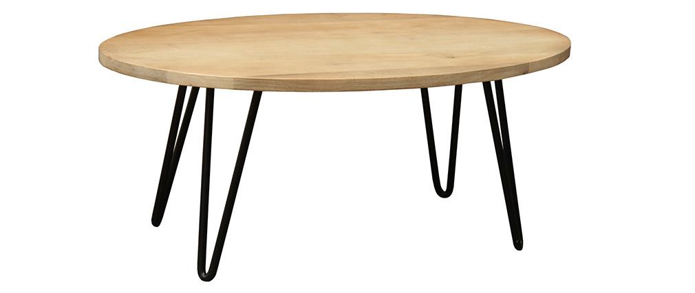 Tavolino basso ovale L100 x l55 cm in legno massello di mango VIBES