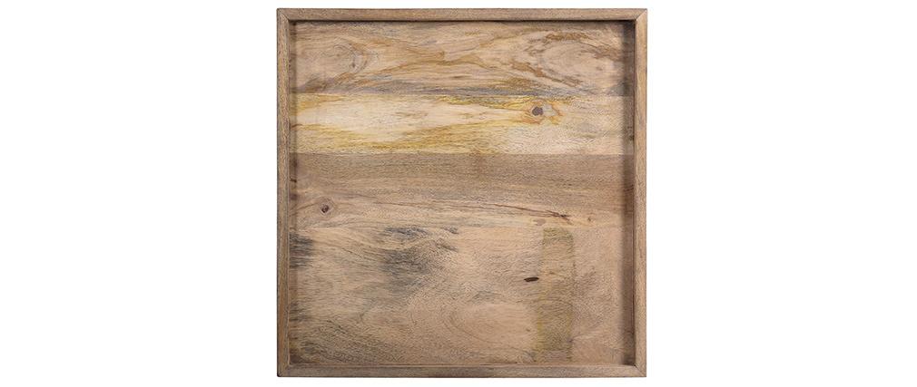 Tavolino basso quadrato in mango e metallo nero L55 cm FRAME