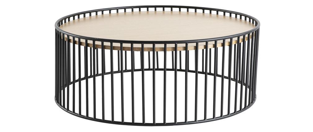 Tavolino basso rotondo design legno chiaro e metallo HARP