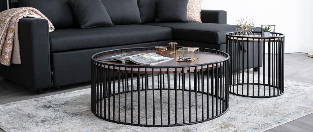 Tavolino basso rotondo design legno scuro e metallo HARP