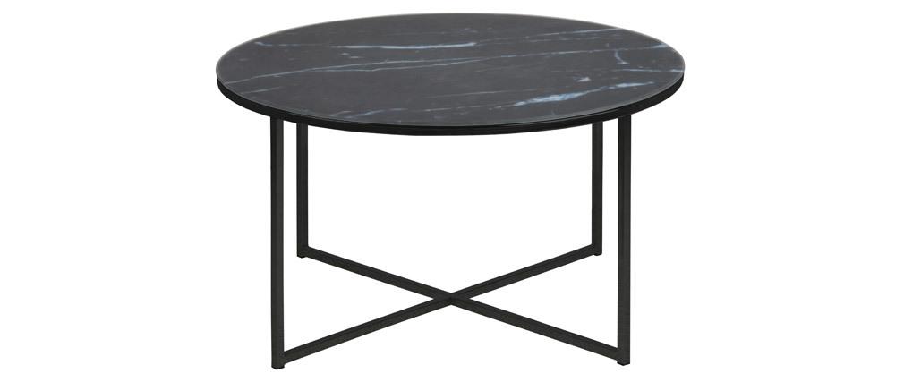 Tavolino basso rotondo effetto marmo nero piedi metallo ALCINO