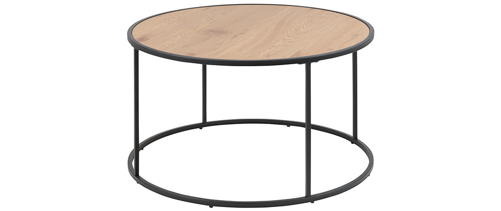 Tavolino basso rotondo in legno e metallo nero D80 cm TRESCA