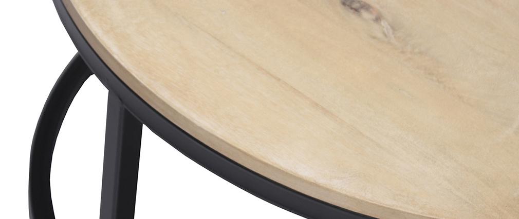 Tavolino basso rotondo in mango e metallo nero D80 cm FACTORY
