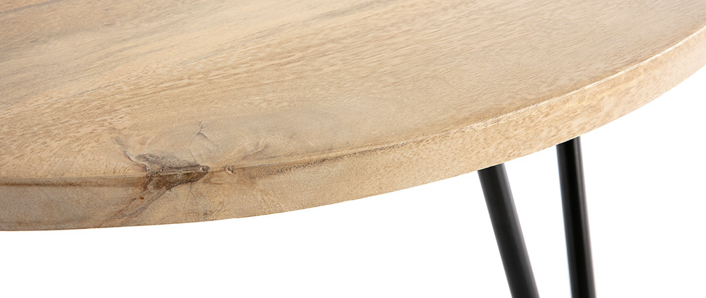 Tavolino basso rotondo in mango piedi metallo VIBES