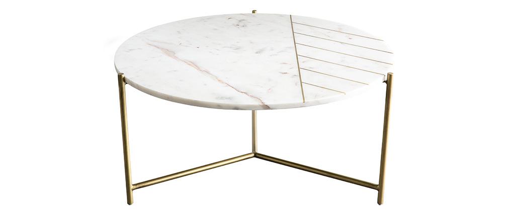 Tavolino basso rotondo in marmo bianco SILLON