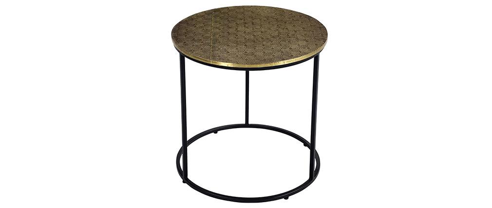Tavolino basso rotondo in ottone battuto L45 cm FLOOR