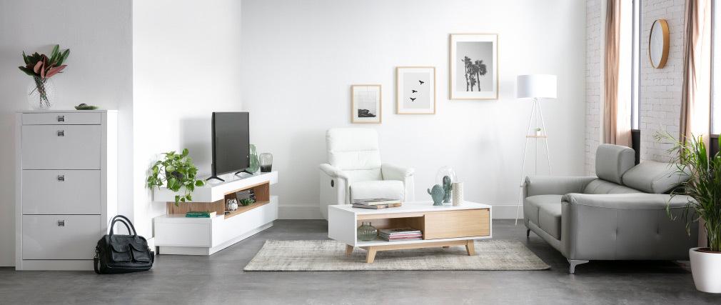 Tavolino basso scandinavo bianco brillante e legno LAHTI