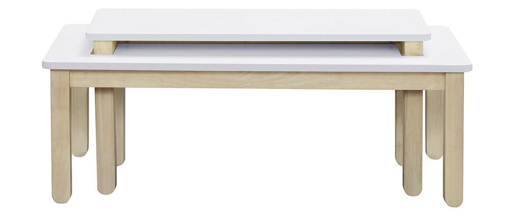 Tavolino basso scandinavo con banco integrato bianco e legno chiaro CYBEL