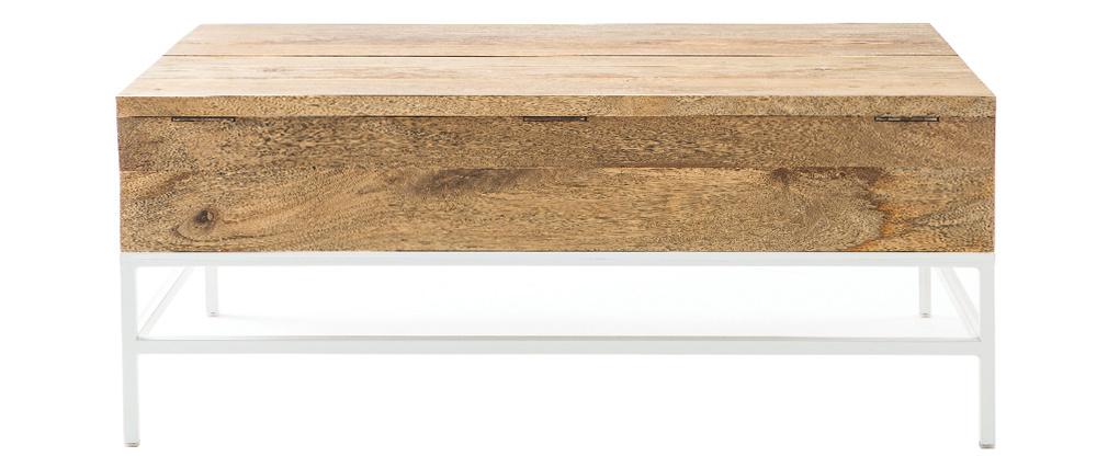 Tavolino basso sollevabile in legno di mango e metallo bianco BOHO
