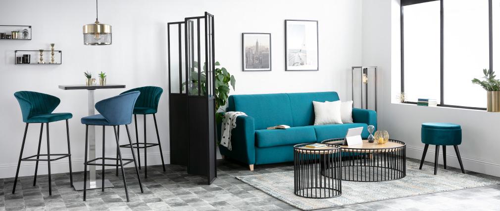 Tavolino complementare design legno chiaro e metallo HARP
