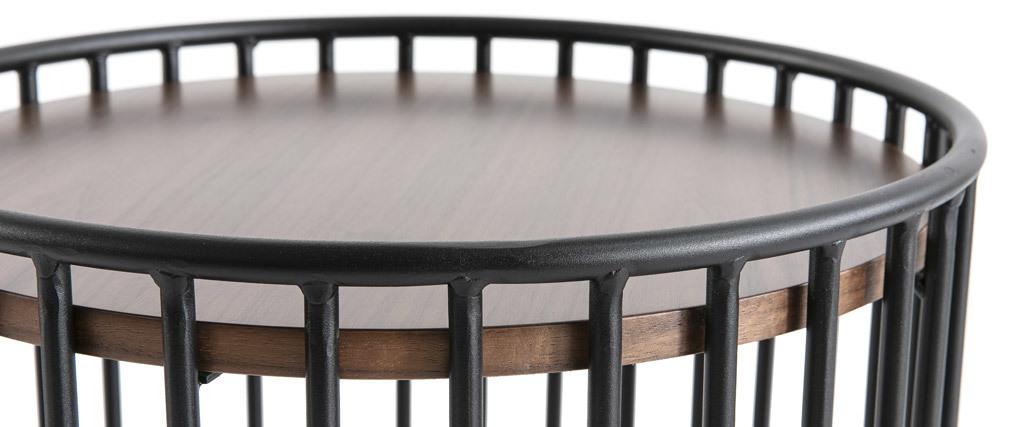 Tavolino complementare design legno scuro e metallo HARP
