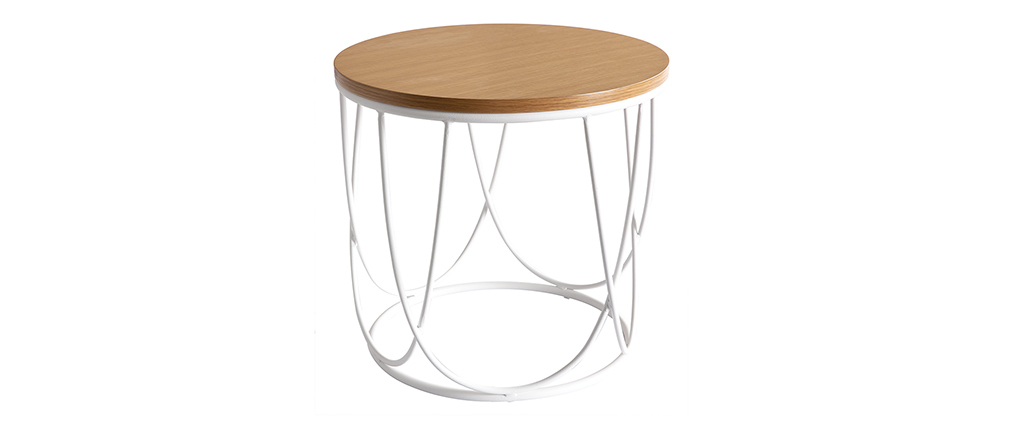 Tavolino complementare legno e metallo bianco 42 cm LACE