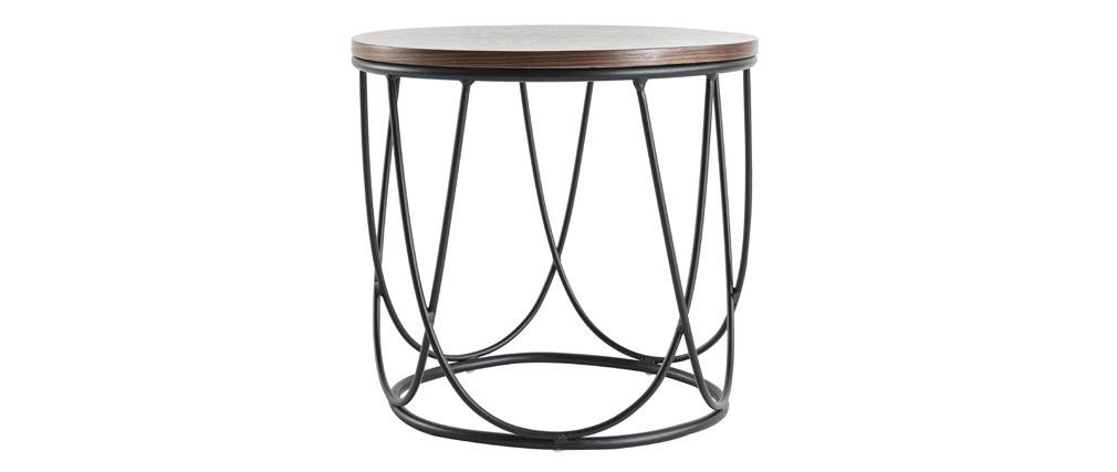 Tavolino complementare legno scuro e metallo 42 cm LACE