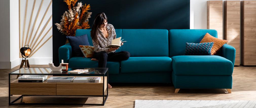 Tavolino con cassetti con piano in vetro e piede in metallo nero color legno - FINN