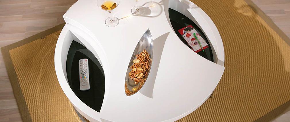 Tavolino design bianco laccato con piano girevole TURN
