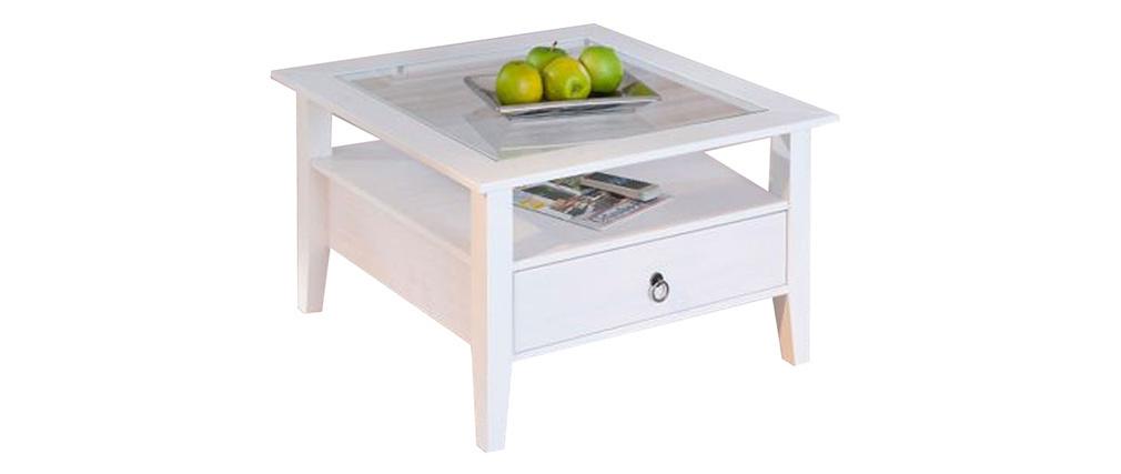 Tavolino design bianco pino massiccio CAMBRIDGE