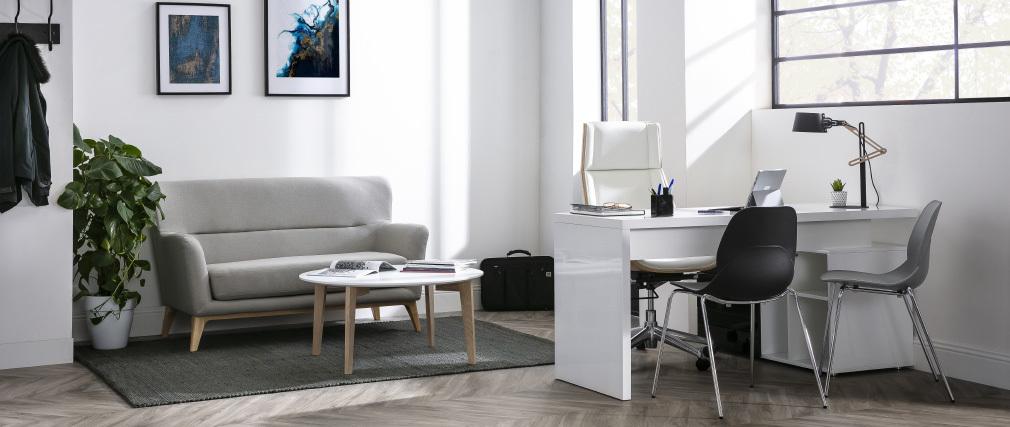 Tavolino design laccato bianco e legno naturale LARGO