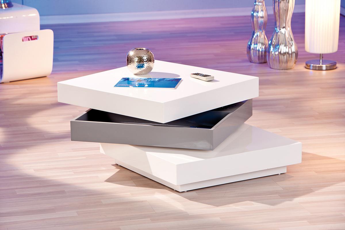 Tavolino design laccato bianco TRINA