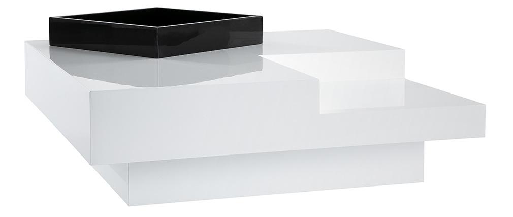 Tavolino design laccato bianco vassoio nero TEENA