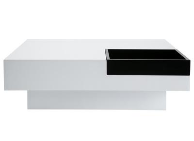 Tavolino design laccato bianco, vassoio nero TEENA