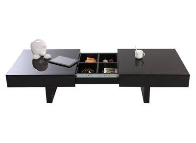 Tavolino design laccato nero ripiani scorrevoli  GISSY