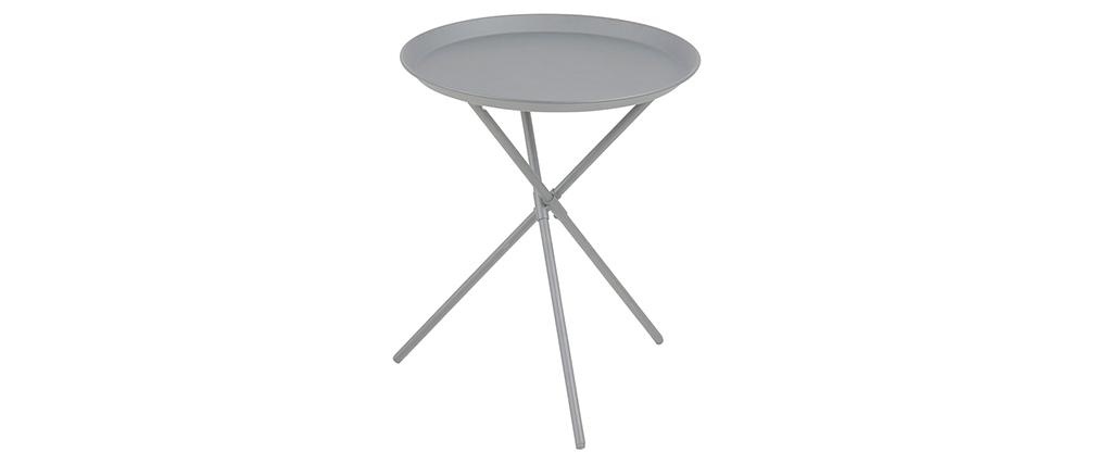 Tavolino design metallo grigio MIKADO