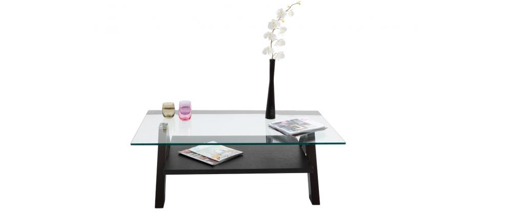 Tavolino design rettangolare bailey colore wenge e piano in vetro ...