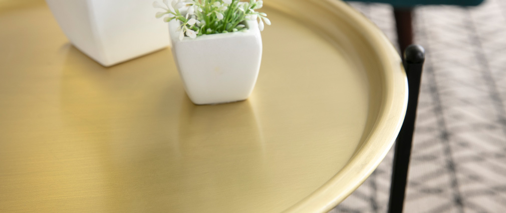 Tavolino design rotondo metallo dorato LUZ