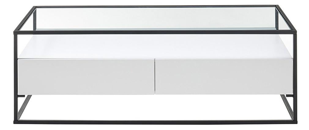 Tavolino di design con piano in vetro e cassetti bianchi - FINN