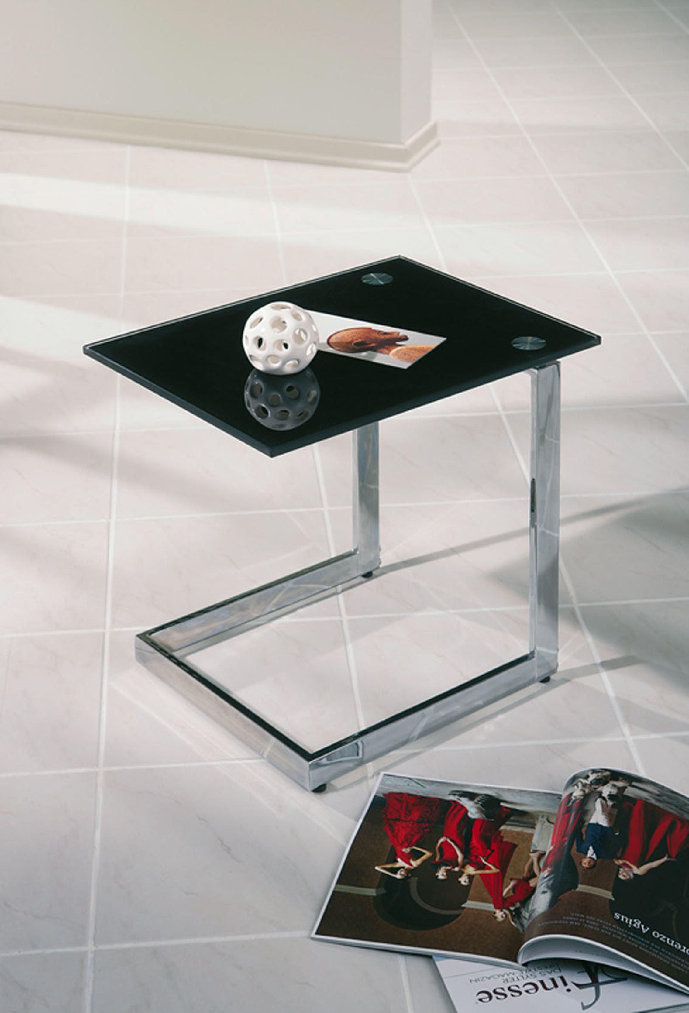 Tavolino in vetro e metallo cromato OLANDA