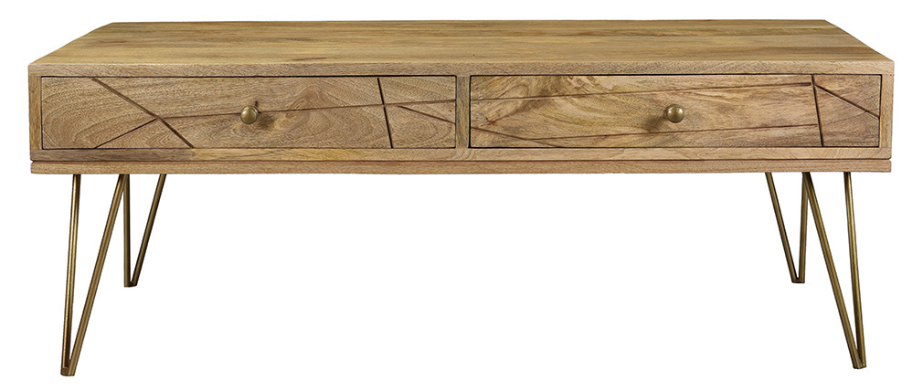 Tavolino inciso in legno di mango e metallo dorato LINIUM