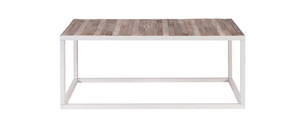Tavolino legno e metallo bianco 100 x 60 ROCHELLE