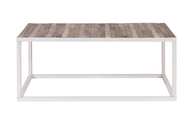 Tavolino legno e metallo bianco 100 x 60 rochelle miliboo
