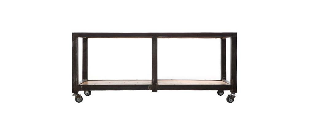 Tavolino / mobile TV legno massiccio e metallo ATELIER ROLL
