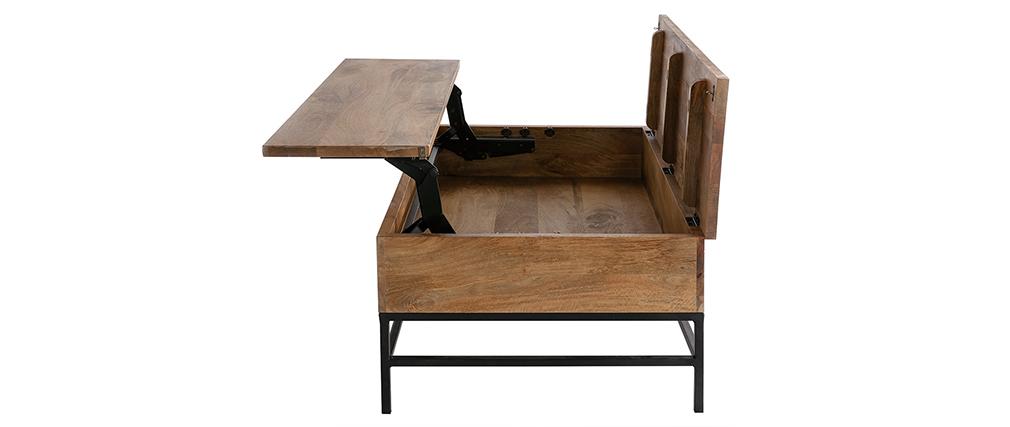Tavolino rialzabile industriale legno di mango e metallo L110 cm YPSTER