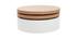 Tavolino rotondo con piatti girevoli e cassetti bianco e legno ICON