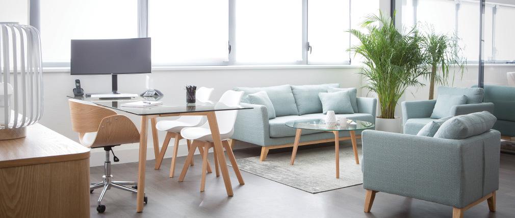 Tavolino rotondo design contemporaneo vetro e legno DAVOS