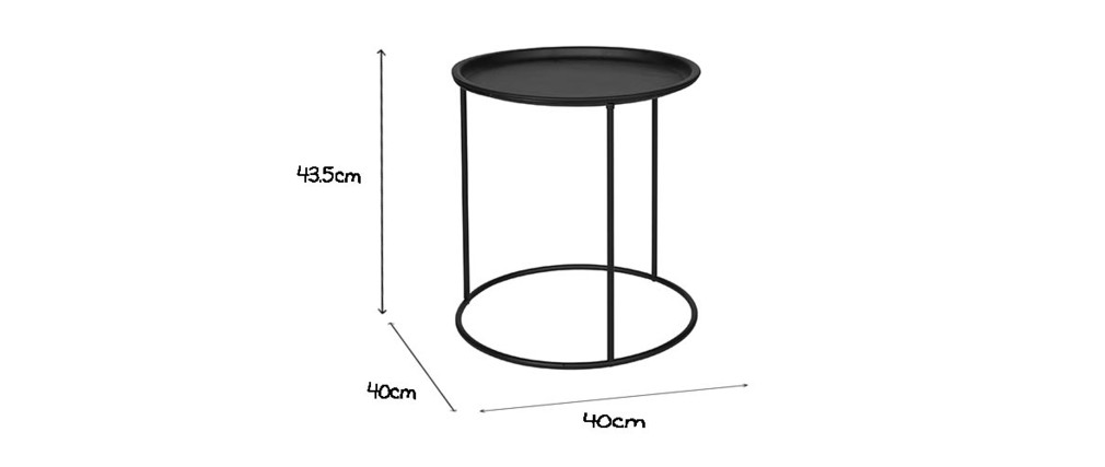 Tavolino rotondo in metallo nero 40cm ABEL