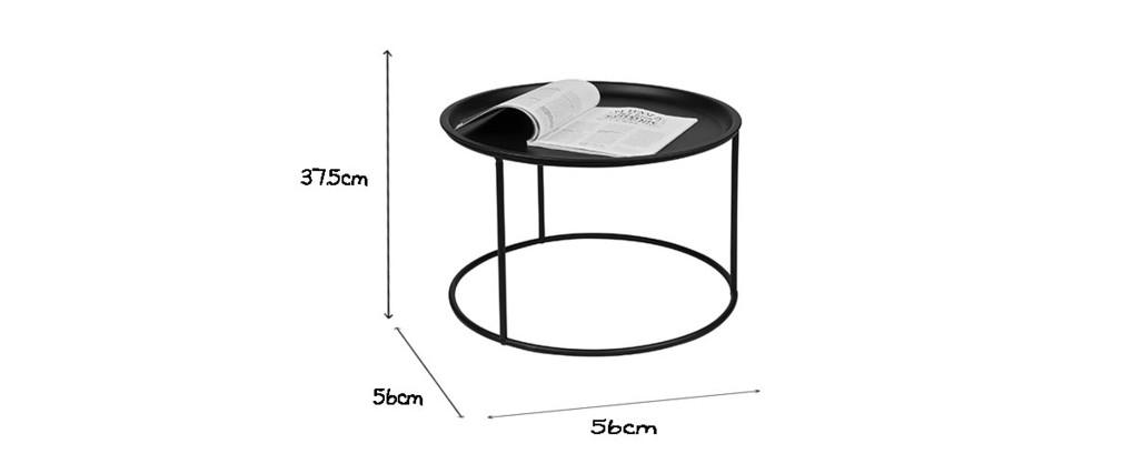 Tavolino rotondo in metallo nero 56cm ABEL
