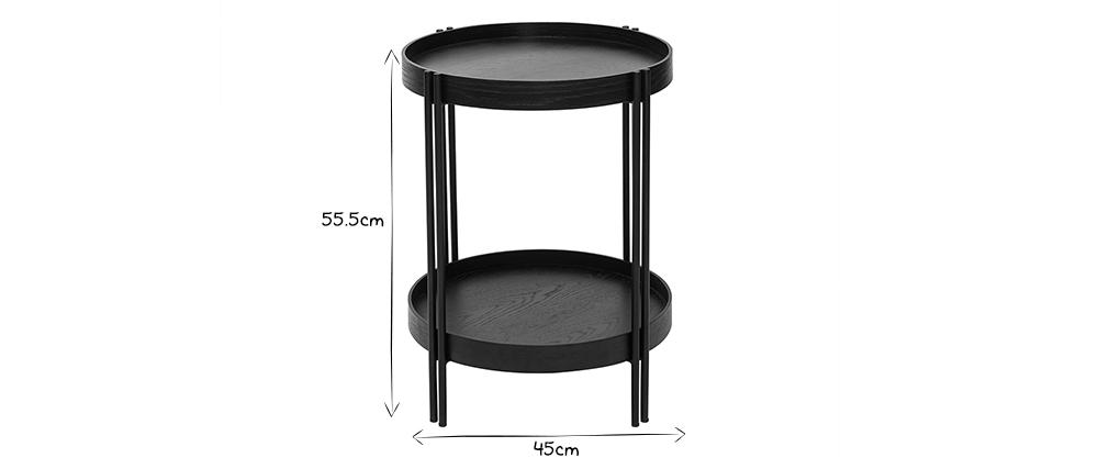 Tavolino rotondo in rovere nero e finitura metallo D45 cm TWICE