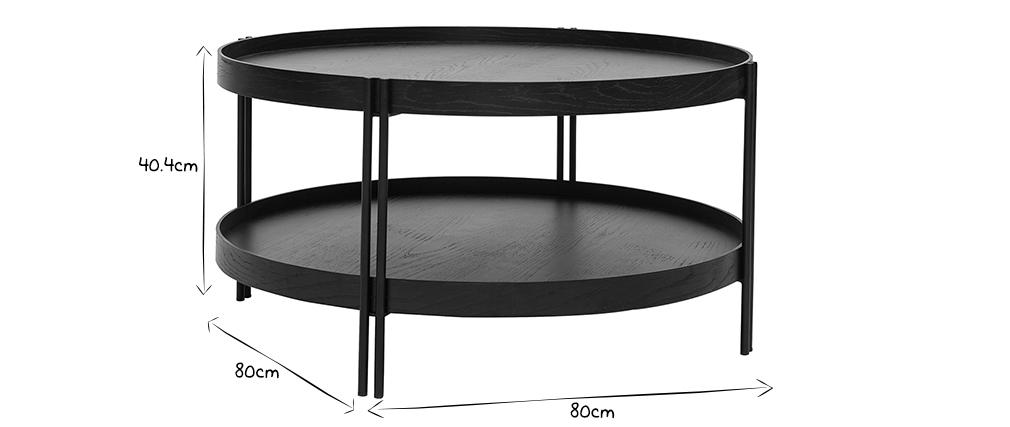 Tavolino rotondo in rovere nero e finitura metallo D80 cm TWICE