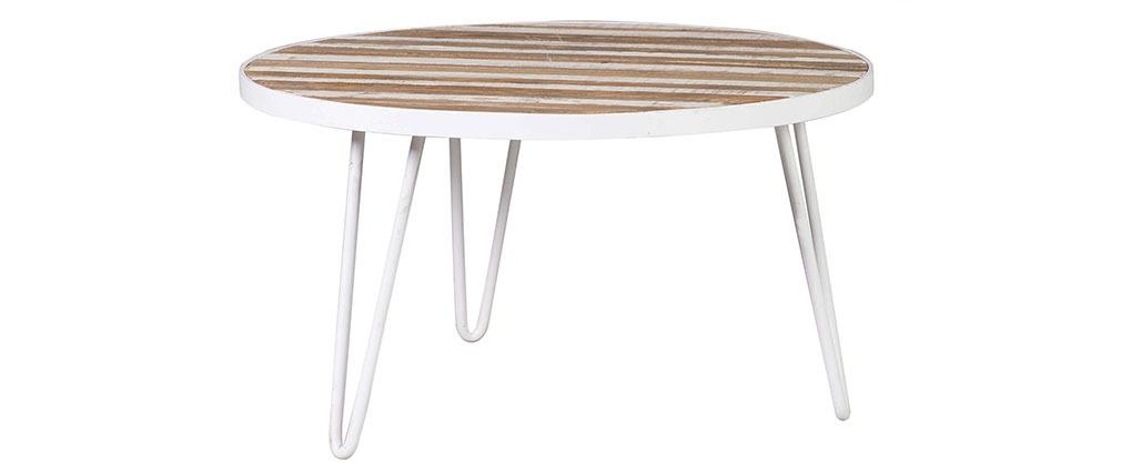 Tavolino rotondo legno e metallo bianco 80x45 ROCHELLE