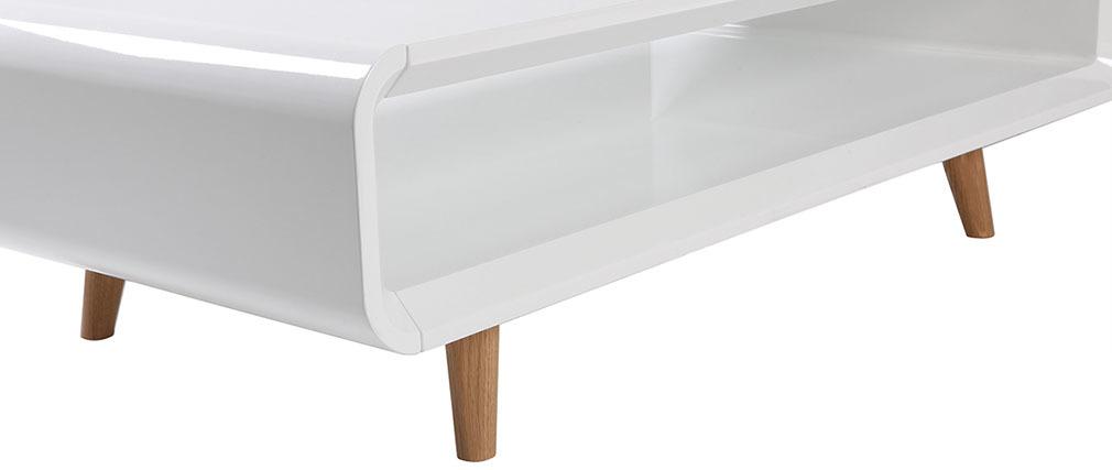 Tavolino scandinavo bianco lucido e frassino  MELKA