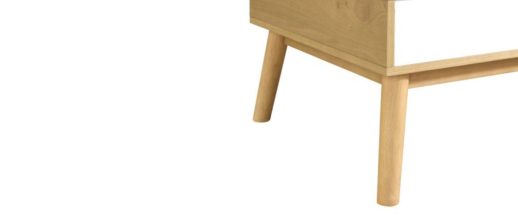 Tavolino scandinavo in legno chiaro e bianco con contenitore TALIA