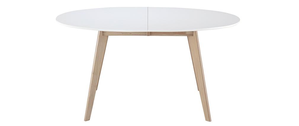 Tavolo allungabile ovale bianco e legno chiaro L150-200 LEENA